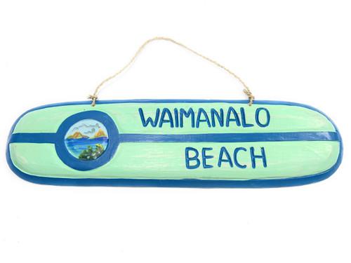 """Waimanalo Beach"" Wooden surf sign 20"" w/ custom painting   #snd25080"