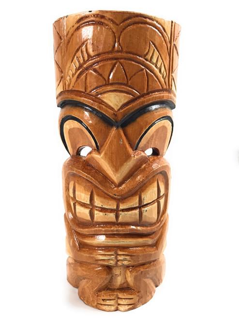 "Lucky Tiki Mask 12"" - Black Outline - Hand Carved | #bds1202230b"
