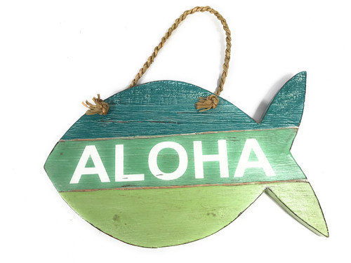 """Aloha"" Fish Sign Beachy on Wood Planks Green 13"" X 8"" 