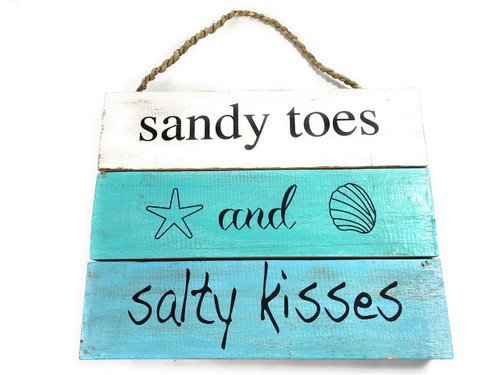 """""""Sandy Toes And Salty Kisses"""" Beach Sign on Planks 12"""" X 9.5"""" 