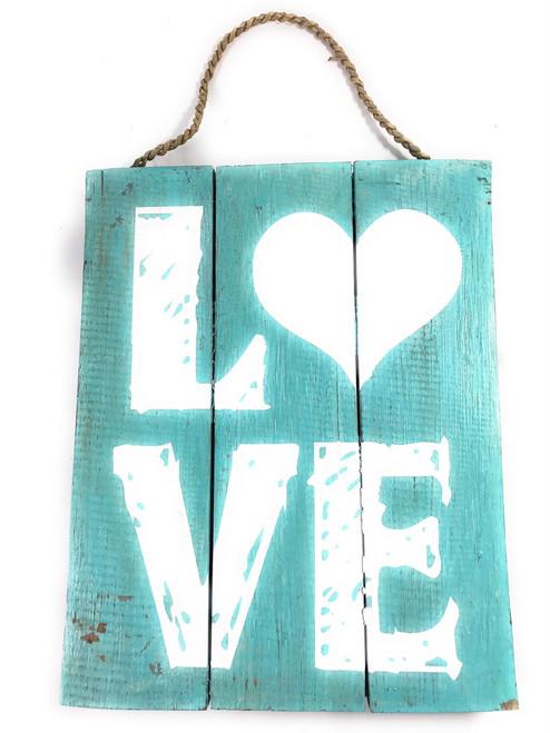 """Love"" Turquoise Distress Sign on Wood Planks 12"" X 9.5"" | #nik3202"