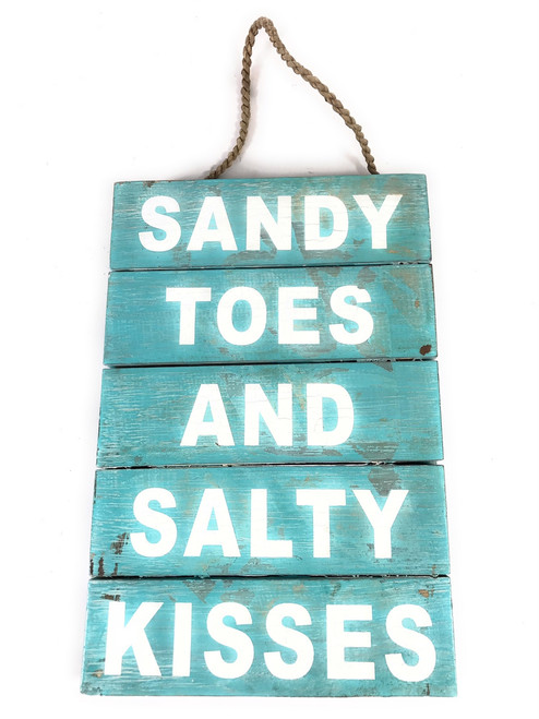 """Sandy Toes And Salty Kisses"" Beach Sign on Wood Planks 12"" X 8"" 