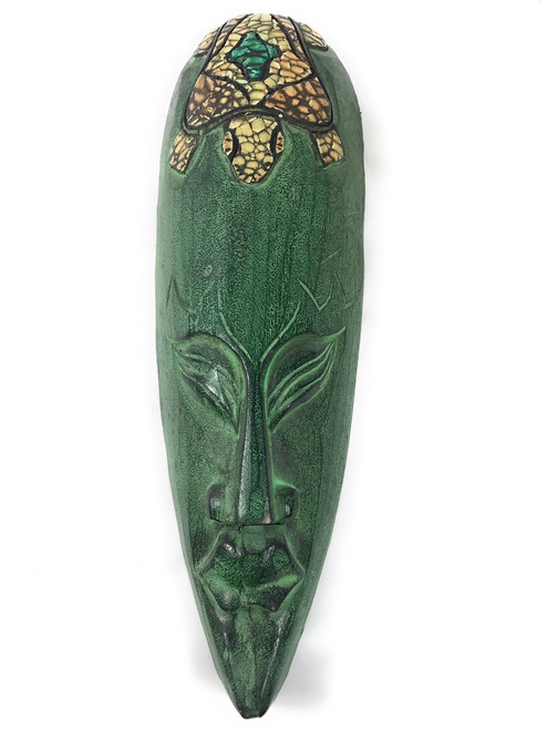 "Native Tribal Tiki Mask 16"" Turtle Design - Abstract Wall Decor 