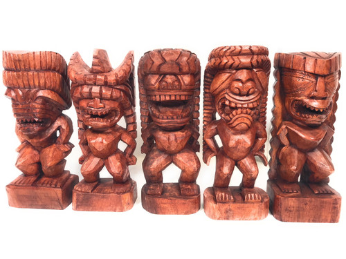 "Set of 5 Traditional Tikis 12"" - Authentic Replicas - Hand Carved 