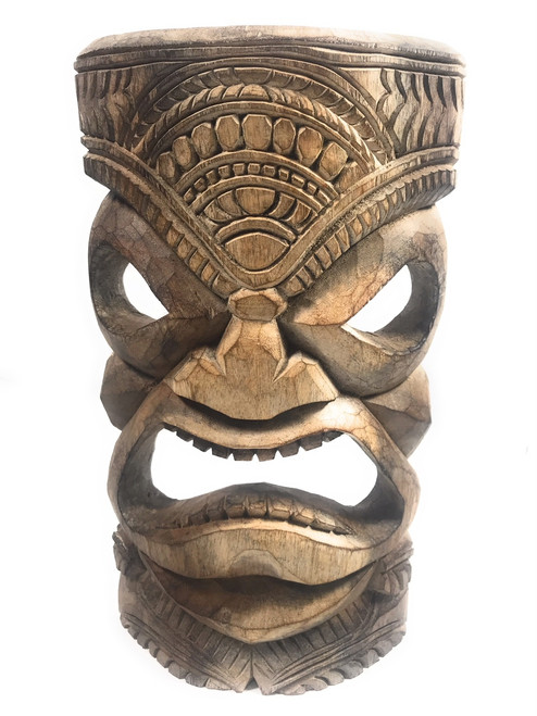 """Thick Hand Carved Tiki Mask 14"""" - Monkeypod - Made In Hawaii 