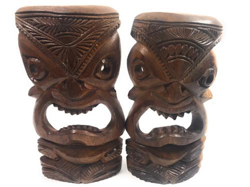 "Pair Of Hand Carved Tiki Masks 11"" - Made In Hawaii | #tmmk06"
