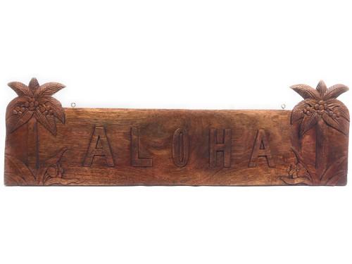 "Aloha Sign w/ Palm Trees Wooden Sign 36"" X 11"" | #tmaloha4"