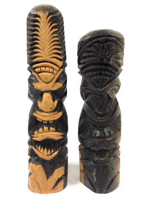 "Pair Of Love/Prosperity Tikis 11"" Hibiscus Wood - Made In Hawaii 