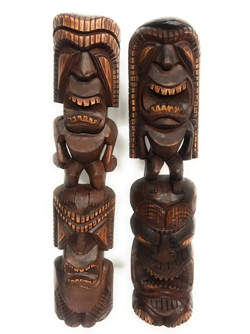 "Set of 2 Tiki Statues 40"" - Hawaiian Hand Carved Sculptures 