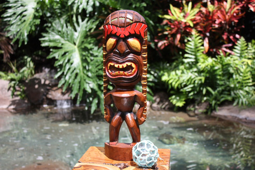 "Lucky Tiki God 16"" - Hand Carved - Hawaii Treasure"