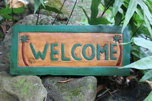 """WELCOME"" PALM TREES TIKI SIGN 16"" CARVED/PAINTED - HOME DECOR"