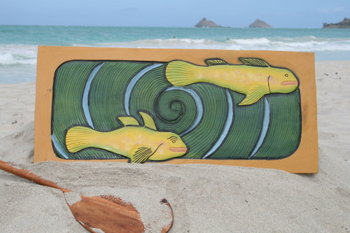 """HAWAIIAN SEA BASS, KORU"" 30"" X 15"" - PRIMITIVE TIKI ART"