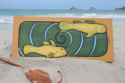 """HAWAIIAN SEA BASS, KORU"" 30"" X 15"" - PRIMITIVE TIKI ART"