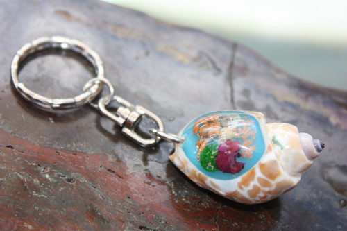 Keychain Seashell w/ Inlay Sea Life #3 - Aloha Keychain