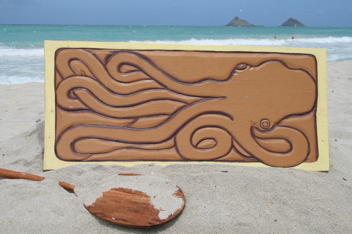 """GIANT HAWAIIAN OCTOPUS, HE'E"" 30"" X 15"" - PRIMITIVE TIKI ART"