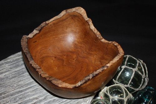 "Teak Root Wooden Bowl 8"" - Local Artist Designer 