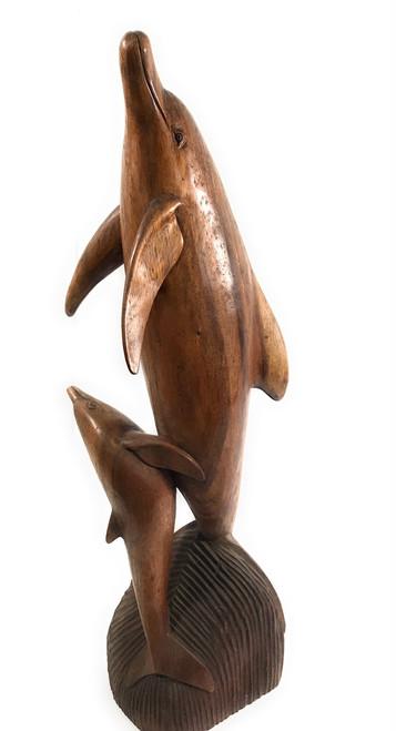 "Exquisite Dolphin & Calf 34"" - Hand Carved - Hawaiian Treasure | #dal07b"