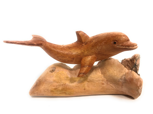 """Carved Dolphin on Driftwood base 5"""" Hand Carved 