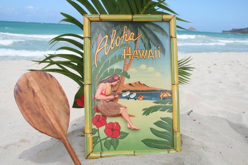 """VINTAGE SIGN """"ALOHA, HAWAII"""" - 24"""" X 16"""" HAWAIIAN DECOR"""