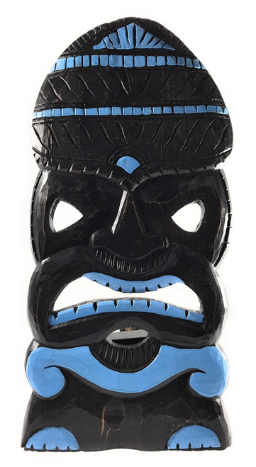 "God Of Surf Tiki Mask 20"" Blue Wood Hand Carved 