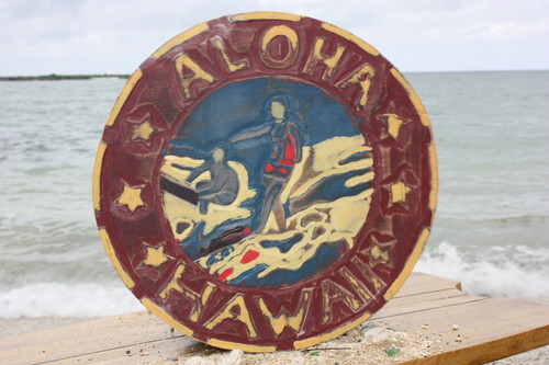 """ALOHA HAWAII"" VINTAGE SURF SIGN - 16"" - MADE IN HAWAII"