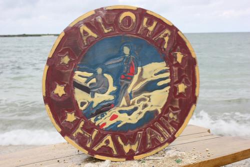 """""""ALOHA HAWAII"""" VINTAGE SURF SIGN - 16"""" - MADE IN HAWAII"""