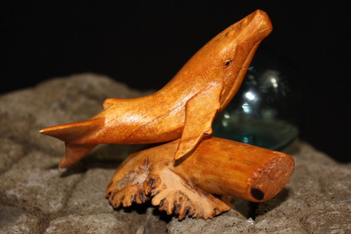 "Humpback Whale on Driftwood base 5"" Hand Carved 