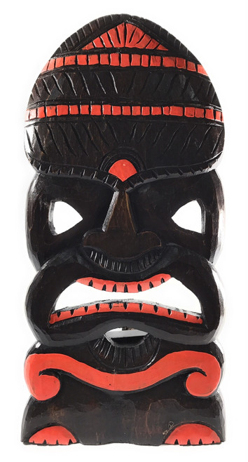 "God Of Surf Tiki Mask 20"" Orange Wood Hand Carved 