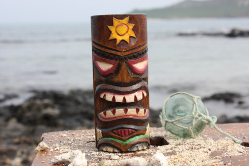 "Tiki Totem 5"" w/ Sunny Hawaii - Hand Carved & Painted"