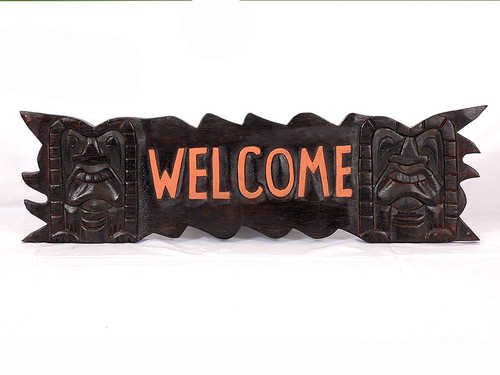 """WELCOME"" SIGN CARVED TIKIS 24"" - ISLAND HOME DECOR"