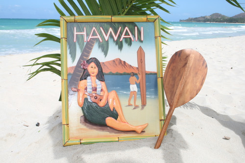 "VINTAGE SIGN ""HAWAII, Diamond Head"" - 24"" X 16"" HAWAIIAN DECOR"