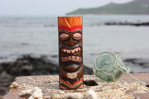 "Tiki Totem 5"" w/ Lava Hawaii - Hand Carved & Painted"