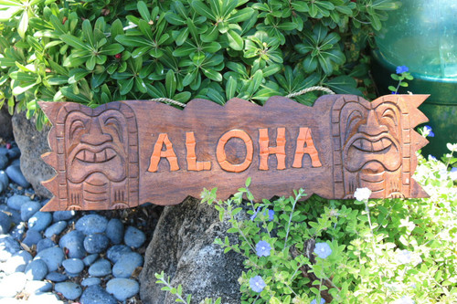 """ALOHA"" SIGN W/ CARVED TIKIS 24"" - ISLAND HOME DECOR"
