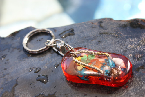 Slippa' Keychain w/ Inlay Sea Life - Orange