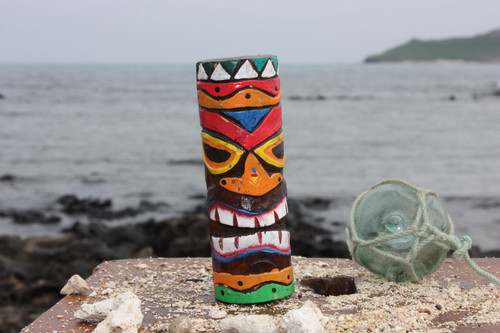 "Tiki Totem 5"" w/ Tribal Hawaii - Hand Carved & Painted"