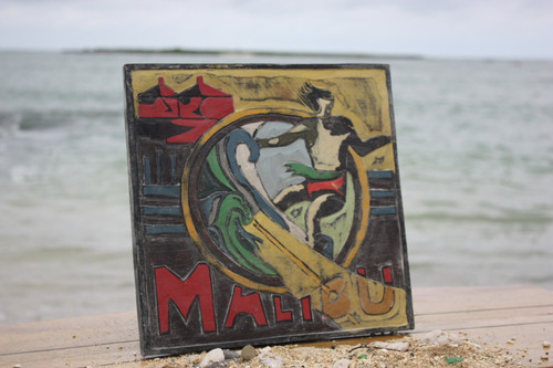 """MALIBU, CALIFORNIA"" VINTAGE SURF SIGN - 12"""