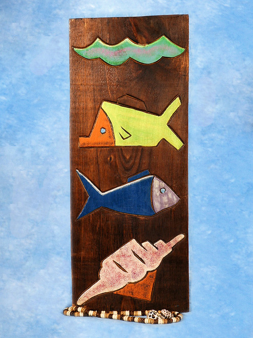 """FISH & SEA SHELL"" RELIEF - 12"" CARVED & PAINTED - OCEANIC ART"