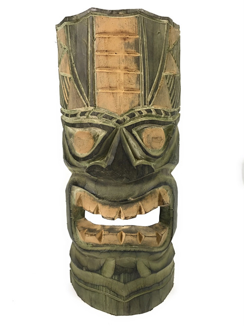 "Hawaiian Tiki Mask 12"" - Forest Green 