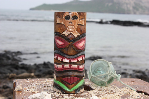 "Tiki Totem Pole 5"" w/ Cross Bones - Hawaii"