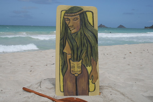 """POLYNESIAN CAT WOMAN"" 30"" X 15"" - PRIMITIVE TIKI ART"