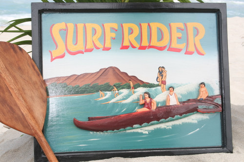 "VINTAGE SIGN ""SURFRIDER"" - 24"" X 16"" HAWAIIAN SURF DECOR"