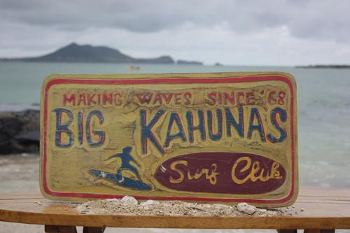 """BIG KAHUNAS SURF CLUB"" SURFING WOOD SIGN 24"""