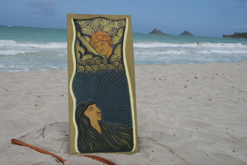 """HAWAIIAN GOD: PELE & MAUI"" 30"" X 15"" - PRIMITIVE TIKI ART"