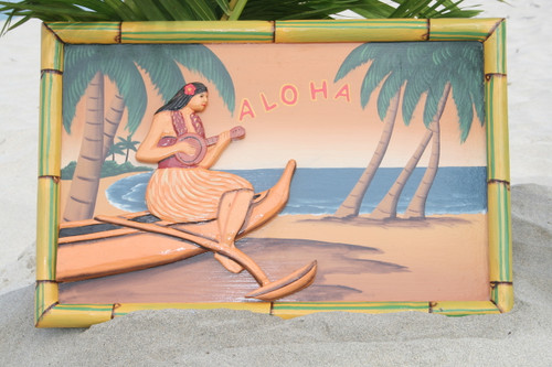 "VINTAGE SIGN ""ALOHA"" CANOE & UKULELE - 24"" X 16"" HAWAIIAN SURF DECOR"