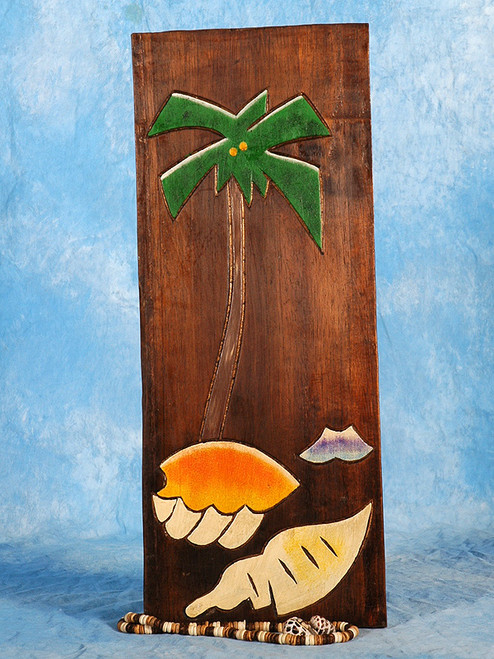 """PALM & SEA SHELLS"" RELIEF - 12"" CARVED & PAINTED - COASTAL DECOR"