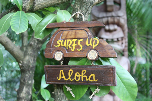 """SURF'S UP, ALOHA"" WOODY CAR SIGN 10"" - TIKI BAR"