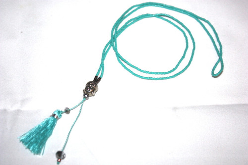 Turquoise Seed Beads Silver Buddha Head Tassel Layering Necklace Fashion Charm Jewelry | #cik3607g