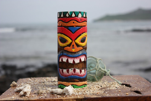 "Tiki Totem 6"" w/ Tribal Hawaii - Hand Carved & Painted"