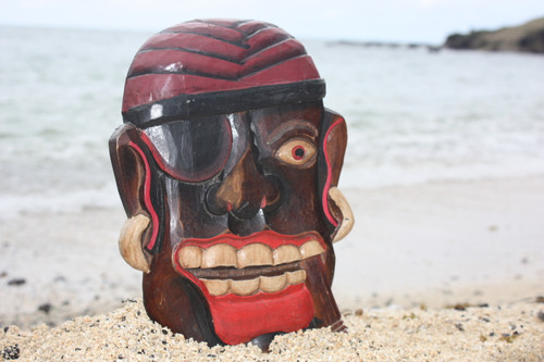 "PIRATE HEAD W/ EARRINGS & CIGAR WALL PLAQUE 12"" - PIRATE DECOR"