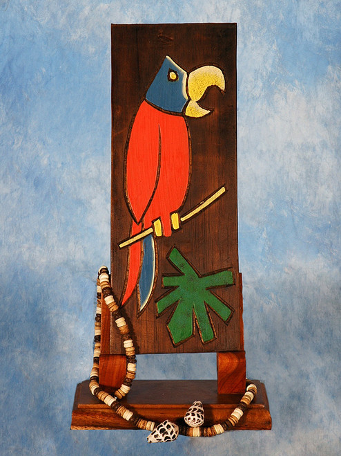 """PARROT & PALM LEAF"" RELIEF - 12"" CARVED & PAINTED - TROPICAL DECOR"